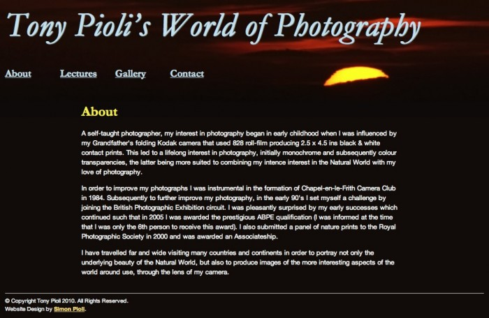 Tony Pioli's World of Photography - About