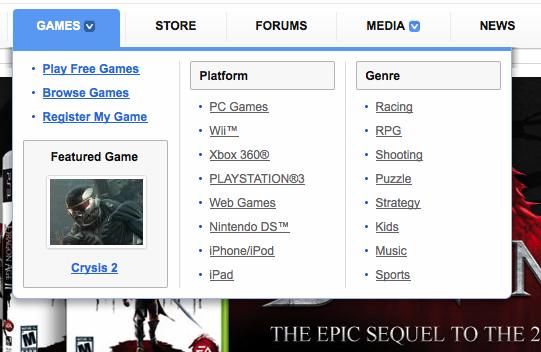 Example: EA Menu